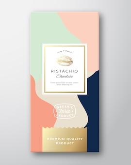 Etykieta z czekoladą pistacjową.