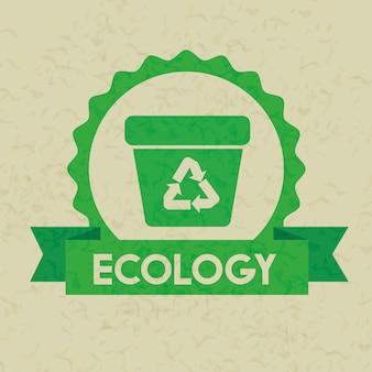 Etykieta z ekologii kosza na śmieci i wstążki