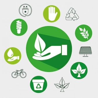 Etykieta z liśćmi i ręką do ochrony ekologii