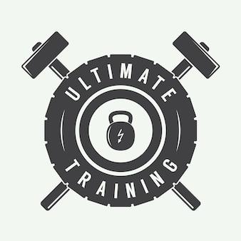 Etykieta z logo siłowni i / lub odznaka w stylu vintage