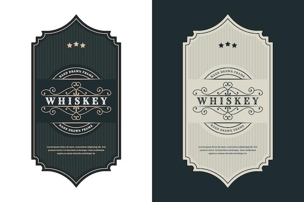 Etykieta z logo vintage luksusowych ramek do etykiet piwa whisky, alkoholu i napojów