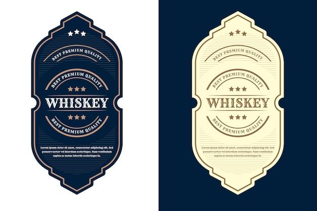Etykieta z logo vintage luksusowych ramek na etykiety na butelki piwa whisky i napoje premium