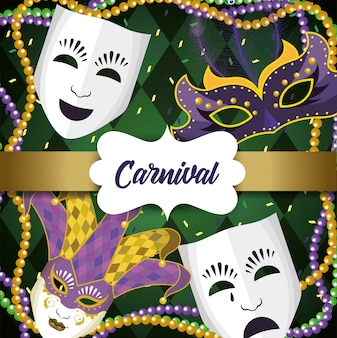 Etykieta z maskami mardi gras i kulkami naszyjnikowymi
