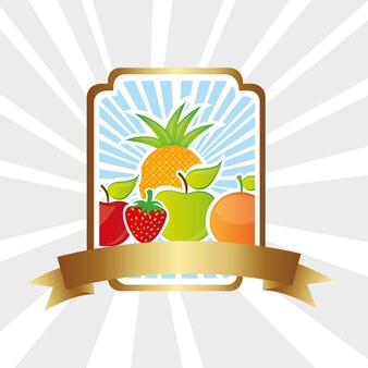 Etykieta z owocami na dolnych liniach