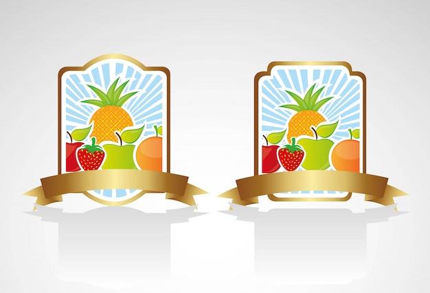 Etykieta z owocami ustawiona na dolnych liniach