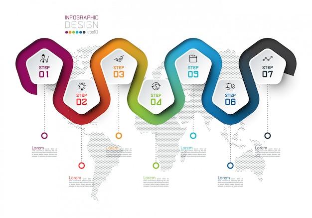 Etykieta Z Pentagonem Z Infografikami Połączonymi Liniami Kolorów. Premium Wektorów