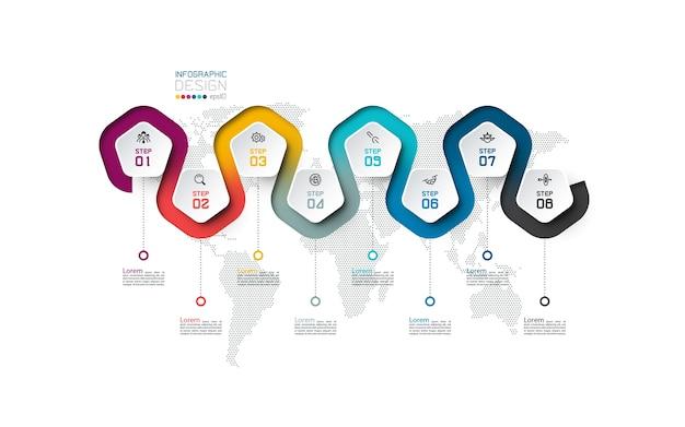 Etykieta z pentagonem z infografikami połączonymi liniami kolorów.