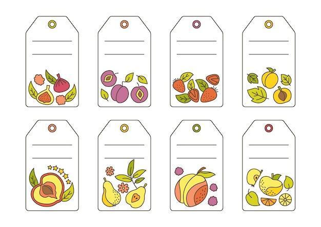 Etykieta z szablonem doodle owoców. tropikalny owoc, ananas, gruszka, arbuz i mandarynka, figa, cytryna.