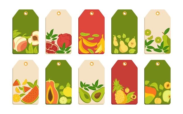 Etykieta z szablonem kreskówka zestaw owoców. tropikalny owoc, ananas, gruszka, arbuz i mandarynka, figa, cytryna.