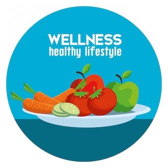 Etykieta ze zdrowymi warzywami i owocami dla zrównoważenia