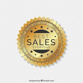 Etykieta złota sprzedaż z formularza koło