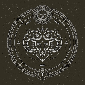 Etykieta znak zodiaku baran vintage cienka linia. retro wektor symbol astrologiczny, mistyczny, element świętej geometrii, godło, logo. ilustracja kontur obrysu.