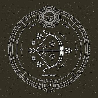Etykieta znak zodiaku strzelec vintage cienka linia. retro wektor symbol astrologiczny, mistyczny, element świętej geometrii, godło, logo. ilustracja kontur obrysu.