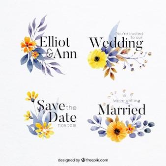 Etykiety akwarela na wesele z kwiatami i liśćmi