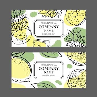 Etykiety ananasowe cytrynowe