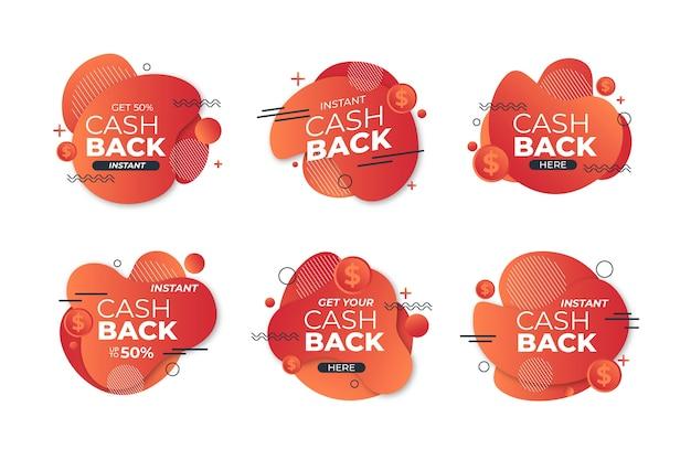 Etykiety cashback z wzorem memphis