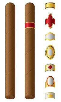 Etykiety cygar dla nich ilustracji wektorowych