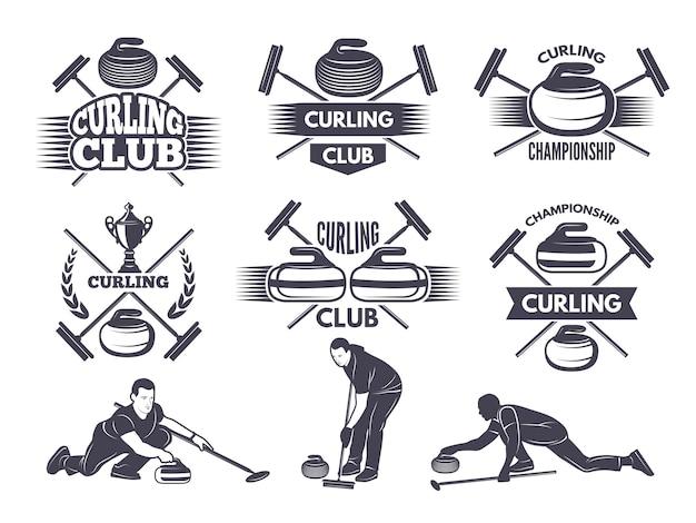 Etykiety dla drużyny sportowej curlingu