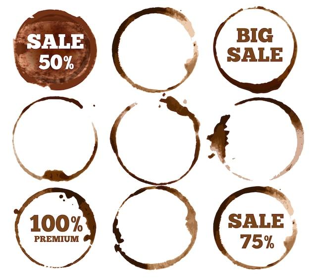 Etykiety do kawy. logo plamy akwarela brudny pierścień. zestaw ilustracji
