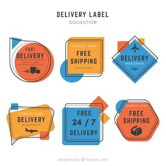 Etykiety dostawowe z artystycznym stylem