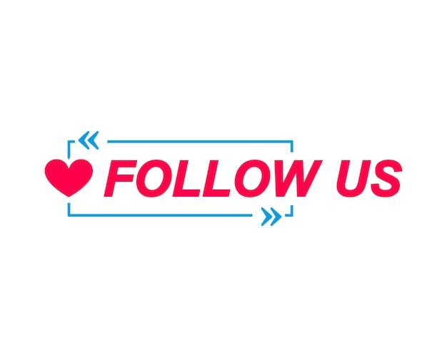Etykiety follow us dymki z ikoną serca naklejka reklamowa i marketingowa