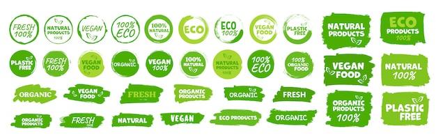 Etykiety i emblematy żywności ekologicznej, naturalnej, zdrowej, świeżej i wegetariańskiej