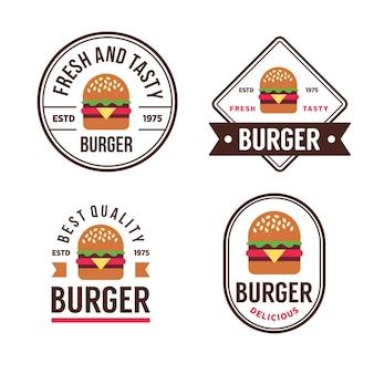Etykiety i logo dla sklepu z burgerami.