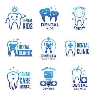 Etykiety i logo zestaw motywów stomatologicznych i ilustracji zdrowych zębów.