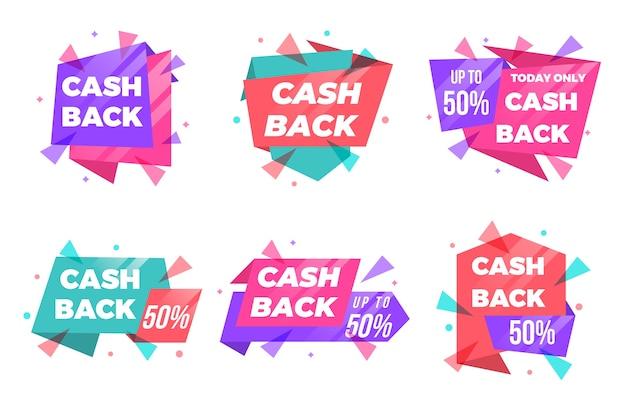 Etykiety i odznaki cashback o różnych kształtach