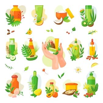 Etykiety i odznaki kosmetyków naturalnych organicznych do ochrony zdrowia, zestaw ilustracji. produkty z naturalnych olejków dla uzdrowiska i dobrego samopoczucia, piękna i zdrowego życia. ikony kosmetyczne. naklejki kosmetyczne.