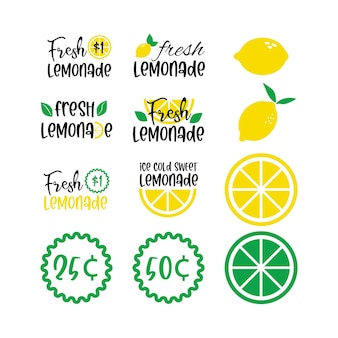 Etykiety i znaki świeżej lemoniady z cytryną. ilustracje wektorowe do projektowania graficznego i internetowego, na stoisko, restaurację i bar, menu.