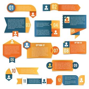 Etykiety infografiki papierowe