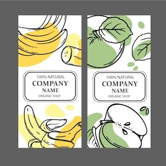 Etykiety jabłko banan