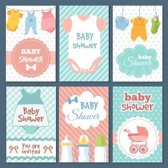 Etykiety lub karty na pakiet baby shower.