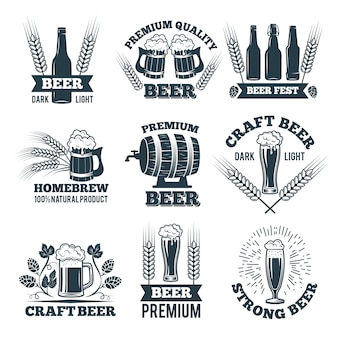 Etykiety lub zestaw odznak piwa.