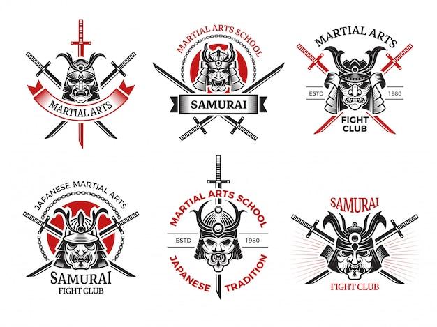 Etykiety maski samuraja. japonia wściekłe twarze na projekty zbroi wojowników tatuaż logo projekty