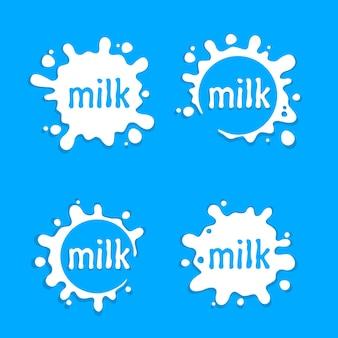 Etykiety mleka zmaza znak, zestaw mleka rozpryskiwania, ilustracji wektorowych