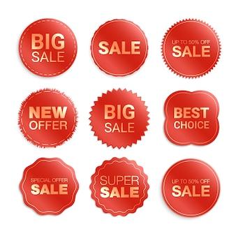 Etykiety na białym tle. promocja wyprzedaży, naklejki na stronę internetową, nowa kolekcja znaczków ofertowych. zniżki płaskie odznaki i tagi. tagi najlepszego wyboru