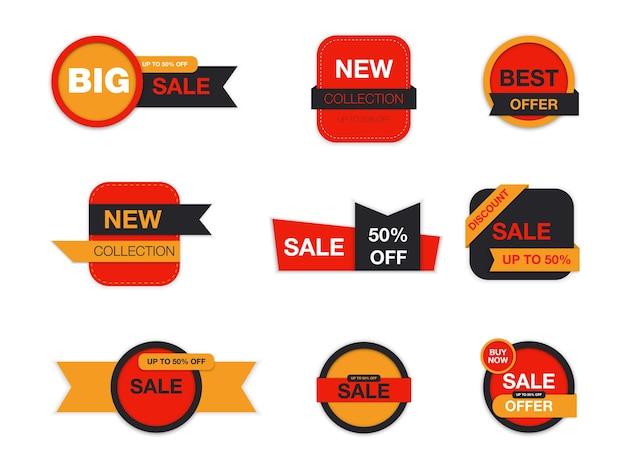 Etykiety na białym tle. promocja wyprzedaży, naklejki na stronę internetową, nowa kolekcja znaczków ofertowych. zniżki płaskie odznaki i tagi. tagi najlepszego wyboru.