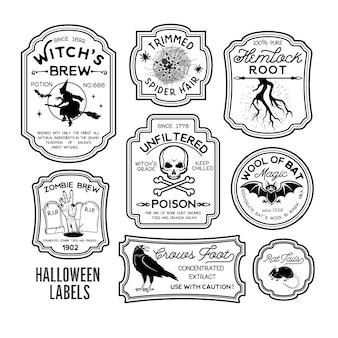 Etykiety na butelki halloween etykiety na mikstury. ilustracja wektorowa.