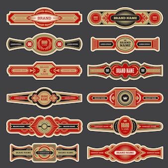 Etykiety na cygara. kolorowe rocznika odznaki na paski dla cygar marki wektor zestaw. cygaro palenie innego logotypu, ilustracja kolekcji etykiet zbliżenia