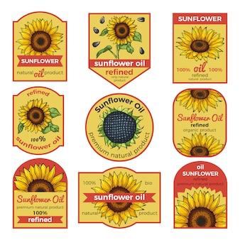 Etykiety na olej słonecznikowy. ilustracja wektorowa z miejscem na twój tekst