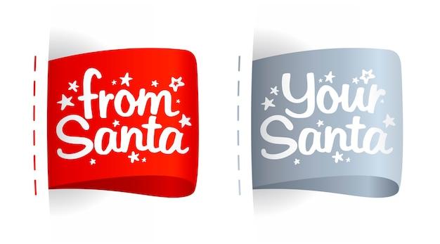 Etykiety na prezenty od świętego mikołaja, zestaw znaczników świątecznych