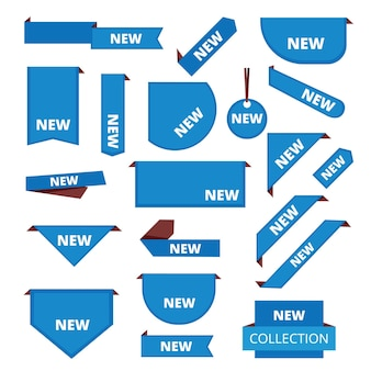 Etykiety narożne. promocyjny pasek naklejek do sprzedaży towarów na rynku oznacza nowy zestaw informacji.