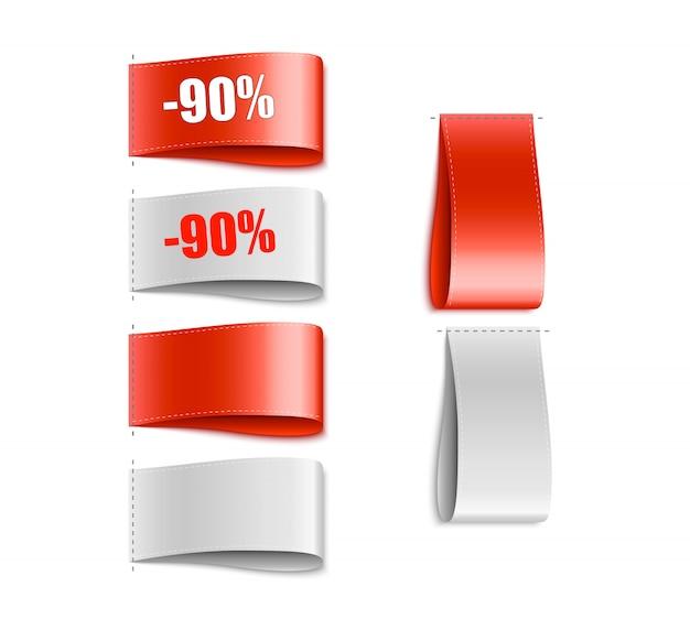 Etykiety odzieżowe. tag tkaniny. oferta specjalna