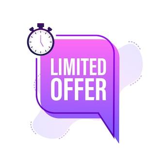 Etykiety oferty limitowanej. logo odliczania budzika. odznaka oferty ograniczonej czasowo. ilustracja wektorowa.