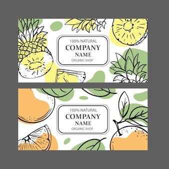 Etykiety pomarańczowy ananas