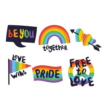 Etykiety pride day z kolekcją flag
