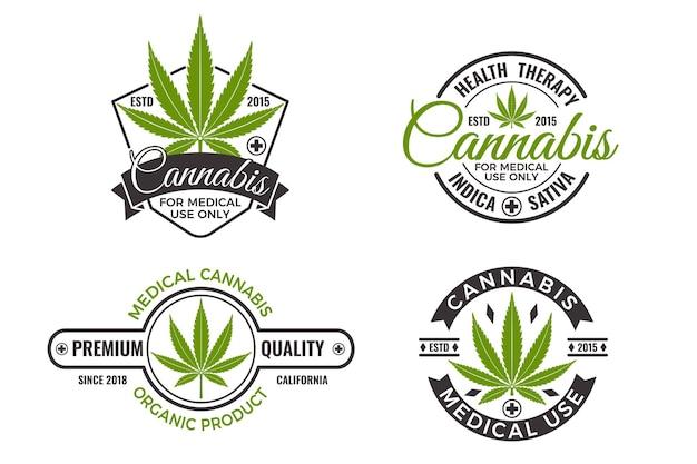 Etykiety produktów medycznej marihuany z ekologicznymi liśćmi konopi. szablon projektu logo konopi dla godła, terapii wellness, naklejki lub reklamy. ilustracja wektorowa na białym tle