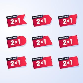 Etykiety promocyjne z ustawionymi ofertami specjalnymi
